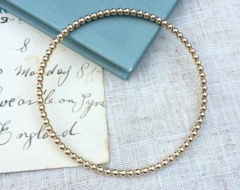 Gold filled bead bangle. Gold bangle, bracelet. Bridesmaid, wedding jewellery, layering bracelet