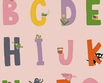 ON SALE Heather Ross Kinder Alphabet Pink