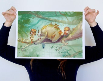 Children of the Glade - LARGE - A3 Print - forest jungle lost kids sloth creature andtler canopy fungi mushroom moss ghibli adventure