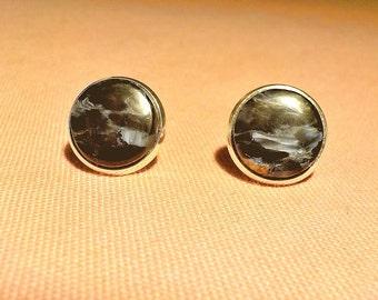 Namibian Pietersite natural stone stud earrings.  12 mm diameter. Silver plated metal alloy.   Nickel free.