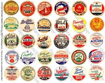 Vintage Milk Caps, Printed Sheet, Kitchen Collage, Milk Bottles, Dairy Labels, Creamery Bottles, Whipping Cream, Old Milk Bottle Caps, 240a
