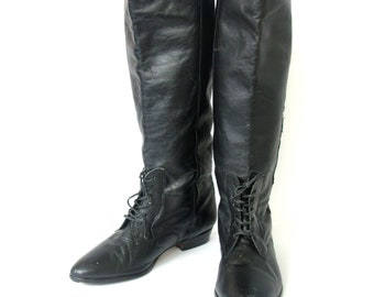 Vintage 80's black fashion riding boots, leather knee high boots, women's size 10 / 9