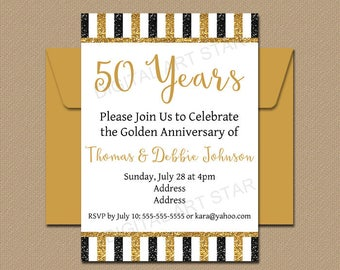 50th Anniversary Invitation Template, Golden Anniversary Party Invitation Printable, Black Gold Glitter Invitation, Fiftieth, Table Sign B4
