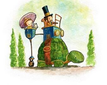 Cutepunk Turtlecar Watercolor Print