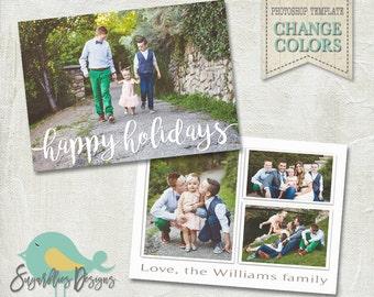 Holiday Card PHOTOSHOP TEMPLATE - Family Christmas Card 154