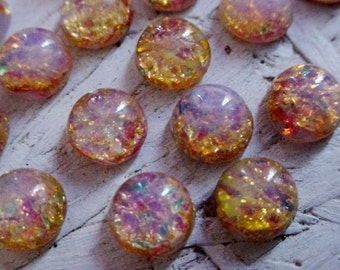 10pc 7mm Fire Opal Cabochons Amber Pink Green Gold Vintage Japan Round Glass Calibrated Loose Flat Back Stones Unfoilded Harlequin Lot 11H