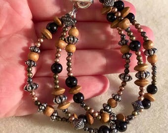 Wooden Beads with Black Beads and Silver Accents Beaded Bracelet with Toggle Clasp