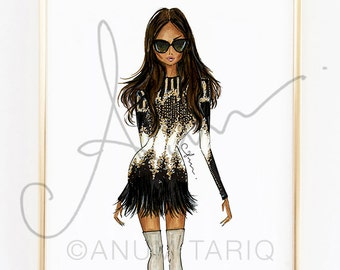 Fashion Illustration Print, Balmain, 8x10""