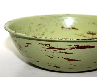 Large Wood Bowl Wasabi Green Painted Shabby Chic Distressed