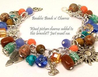 Southwestern Charm Bracelet Jewelry, Western Charm Bracelet Jewelry, Cowboy Themed Charm Bracelet, Southwest Jewelry, Native American