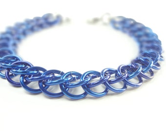 Blue Chainmaille Bracelet Persian Weave In Anodized Aluminum