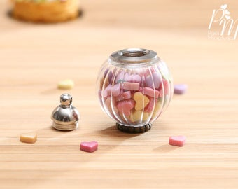 Glass Jar of Colourful Candy Hearts - Removable Lid - Miniature Food in 12th Scale for Dollhouse
