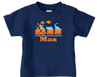 Personalized dino train tshirt, dinosaur tran birthday t shirt for boys