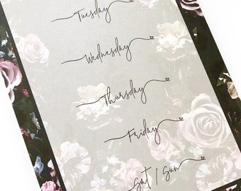 Midnight Floral Weekly Overview Notepad