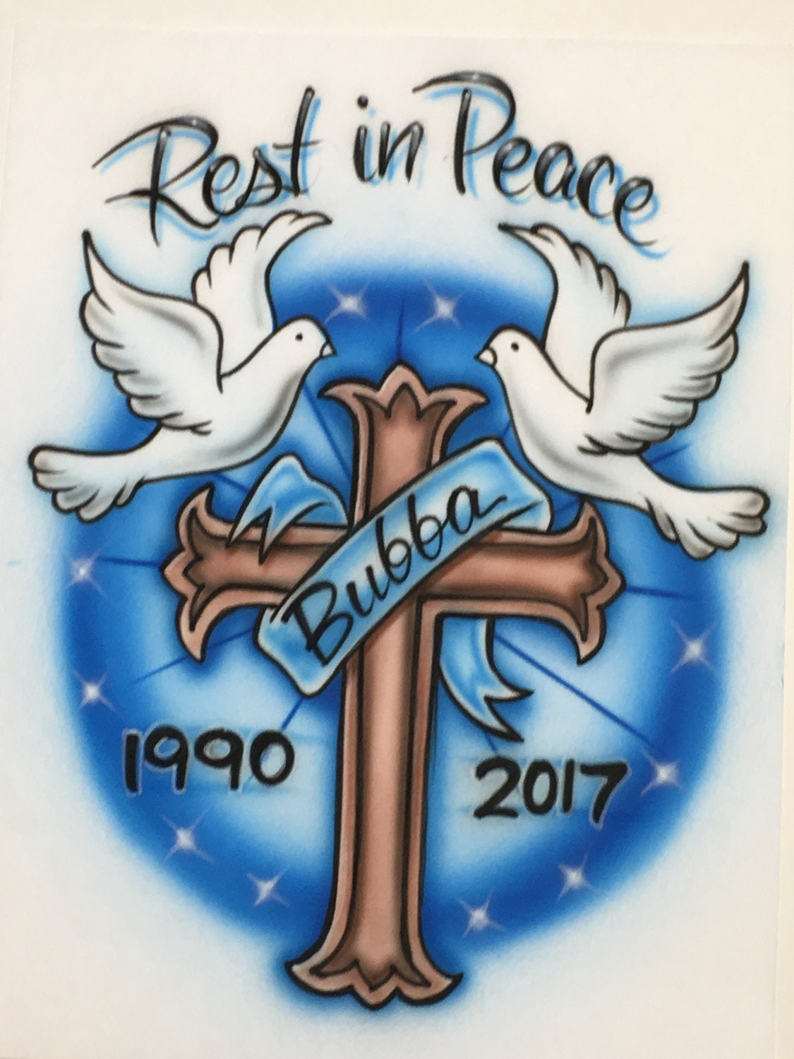 Airbrush rip doves and cross shirt wit name dates rest in description airbrush rip jeuxipadfo Gallery