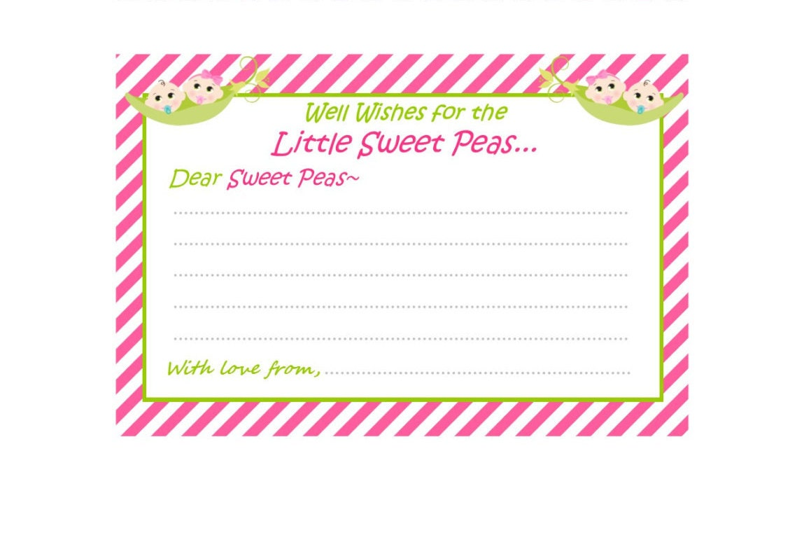 Baby Shower Game Baby Shower Well Wishes Two Peas in A Pod