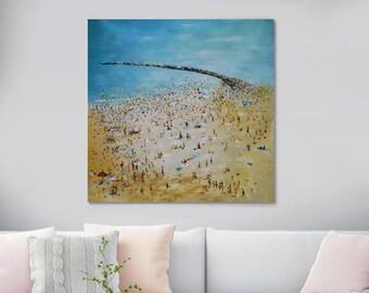 Large Original Beach Oil Painting On Canvas Abstract Beach Art Painting Ocean Sea Beach Scene Blue Water Seashore Seascape People Bathing