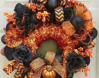 Halloween Cat Wreath, Halloween Wreath, Orange and Black Wreath