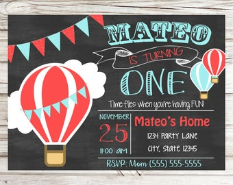Hot Air Balloon Birthday Invitations - Personalized and Printable
