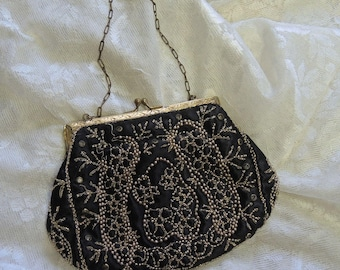 Edwardian Black And Gold Beaded Bag