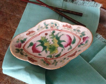 Chinese Antique-Asian Porcelain-Famille Rose-Footed Offering Dish-Chi'ng Dynasty-TONGZHI Period-Passion Fruit-Interior Decoration-Fertility