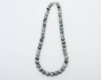 Use Code NEXT0RDER to get 10% off Gray Jade, Jade Jewelry, Gray Beaded Necklace, Hand Knotted Necklace, Light Gray Jewelry, Bead Necklace