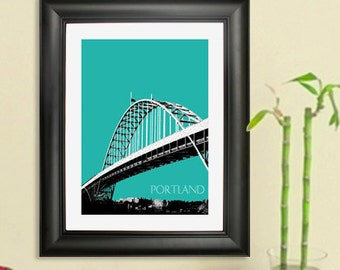 Portland Skyline Print - Fremont Bridge Poster - Portland Oregon City Skyline Art Print , 8x10 - Choose your color