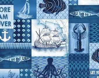 Nautical Motif, Patchwork Sea Life, Octopus, Sailing Vessel  - Indigo Coastal by Jennifer Parker - 3991 77 - Priced by the half yard
