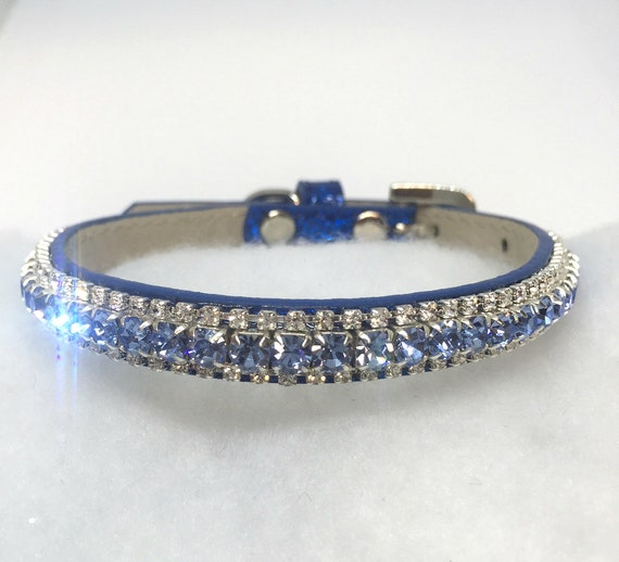 Sugarlicious Pets ™ ~Baby Blue Sapphire & Diamonds~ Crystal Rhinestone Dog Pet Or Cat Safety Collar FREE Snowflake Charm  USA