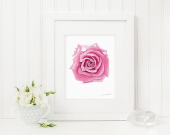 Rose Print, Rose Art, Rose Watercolor, Rose Painting, Pink Rose Flower Print, Flower Wall Art by Michelle Mospens