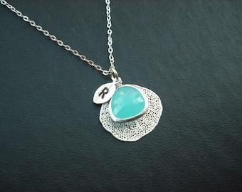personalized - aqua blue bezel and filigree leaf  necklace -  Bridesmaids gift, Wedding Gift