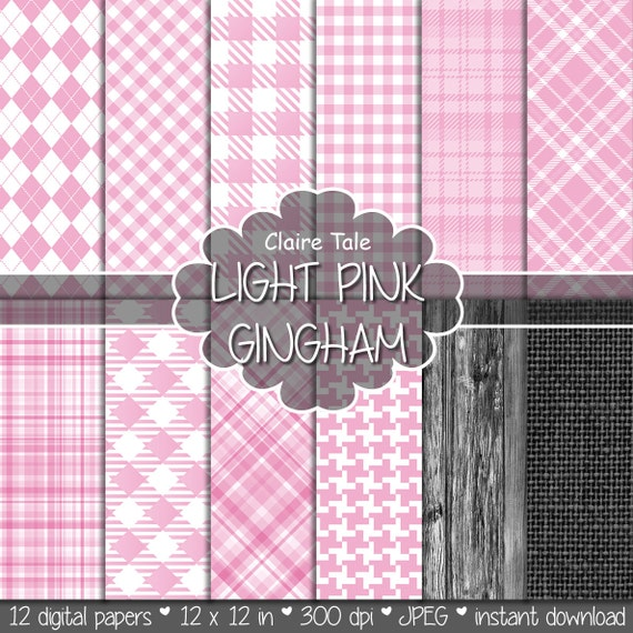 Light pink gingham digital paper, Light pink gingham pattern, Light pink tartan background, Light pink baby shower scrapbooking paper