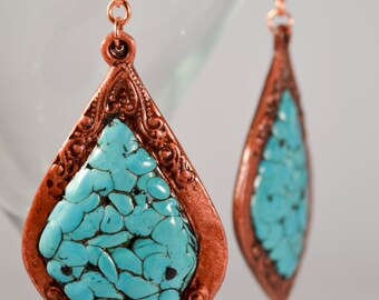 Faux Turquoise Earrings - Handcrafted Earrings - Polymer Clay Earrings - Boho - NEW LOW PRICE!