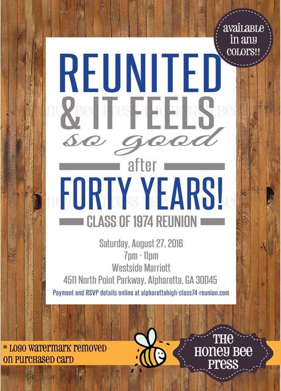 Reunited and it feels so good reunion invitation high school