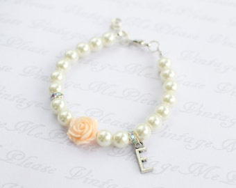 Personalized Childrens Jewelry, Flower Girl Bracelet, Ivory Pearl Bracelet, Flower Girl Gift, Infant Jewelry,Toddler Bracelet, Baptism Gifts