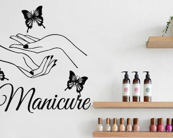 Nail Salon Wall Decal Hair Salon Art Beauty Salon Nail Stylist Nail Art Manicure Woman Gift Customized  (01n)