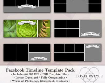 Facebook Timeline Template, Template Pack, Timeline Cover, Facebook Cover, Photo Collage Template, Marketing Tool, Photoshop, Digital
