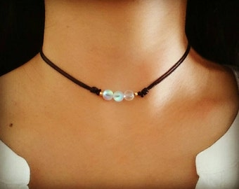 Moonstone Choker, Moonstone Necklace, Gemstone Choker Necklace, Rainbow Moonstone, Crystal Choker, Beaded Choker, Boho Choker Necklace