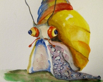 Ralph the Snail the original watercolor painting bug  Art by Delilah