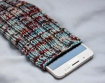 Wonderful Phone Sock/Case/phone pouch hand dyed yarn, Phone Sleeve, phone case, Smartphone, iPhone 7, Samsung Galaxy, ALL PhoneSizes