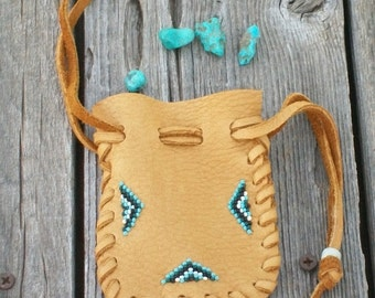 Beaded drawsting pouch ,  Beaded leather bag , Beaded medicine bag
