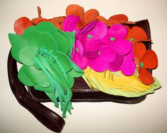 Bouquet Clutch Bag in rich brown with spring grren, bright pink, orange, lime and yellow flowers