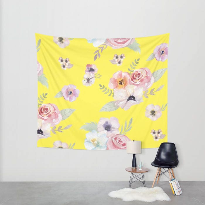 Wall Tapestry - Watercolor Floral I - Bright Yellow Pink - Small ...