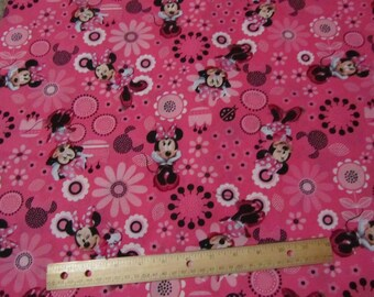Pink Minnie Mouse Flowered Toss Cotton Fabric by the Yard