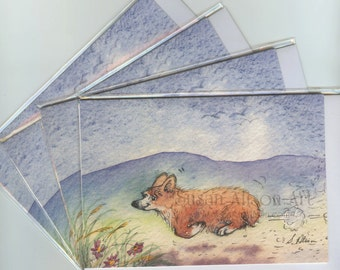 4 x Welsh Corgi dog greeting cards teatime stampede whoosh running eager for food don't get in the way of a corgi & his supper Susan Alison