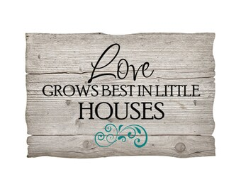 """Family Wall Decal """"Love Grows Best in Little Houses"""" SMALL Living Room Photo Wall Decal Glass Block Decal Vinyl Lettering Sign Sticker"""