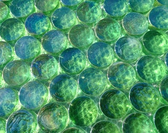 Green Iridescent Circle Glass Mosaic Tiles - Penny Rounds - 3/4""