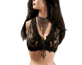 Halter, A, B or C Cup, Black with matte Gold Sequins, Bellydance, Costume, Tribal, Fusion, Gothic, Circus, Carnival, Bra