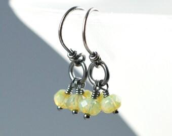 Olive Green Earrings, Green Dangle Earring, Oxidized Silver, Dangle Earrings, Czech Glass, Small Dangles, Handmade Earrings