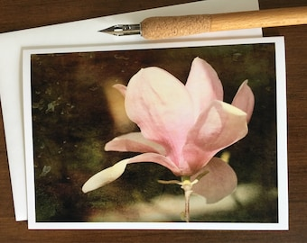 Pink Magnolia, Greeting Card, Saucer Magnolia, Vintage, Card with Envelope, Blank Inside, Note Card, Flower Photography, Flower Print